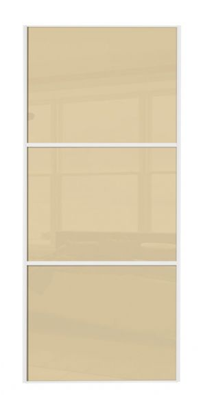 Wideline sliding wardrobe door, White frame/ Cream glass